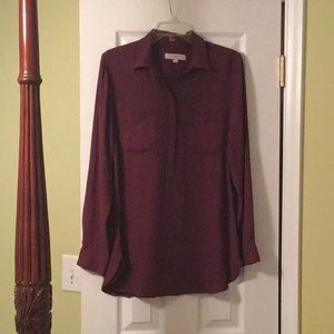 Burgundy colored tunic blouse
